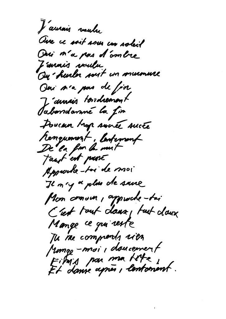 Poème écrit à la main dont le titre est Mange-moi lentement, par David Ruzicka