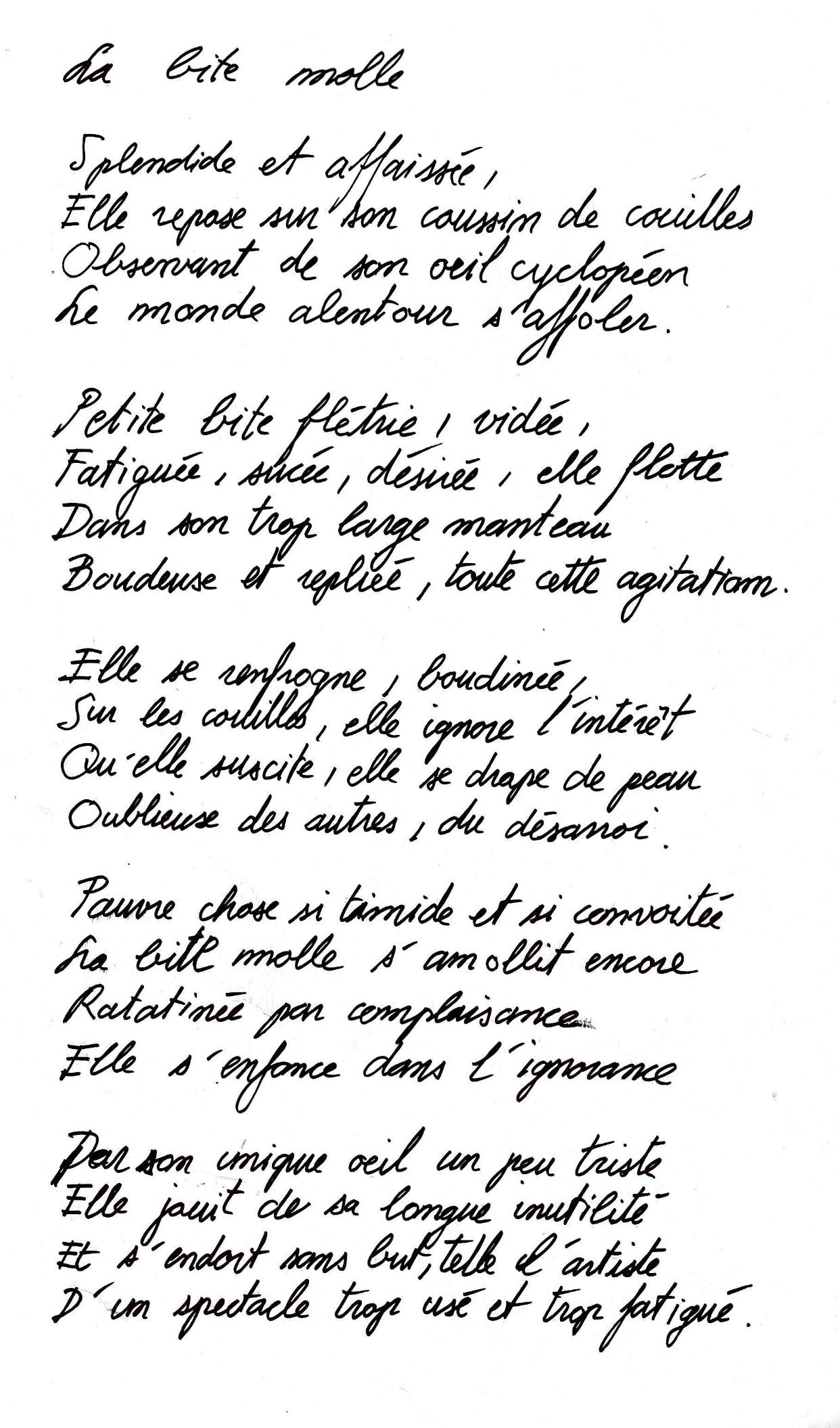 La bite molle poème